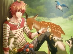 homme roux et animal